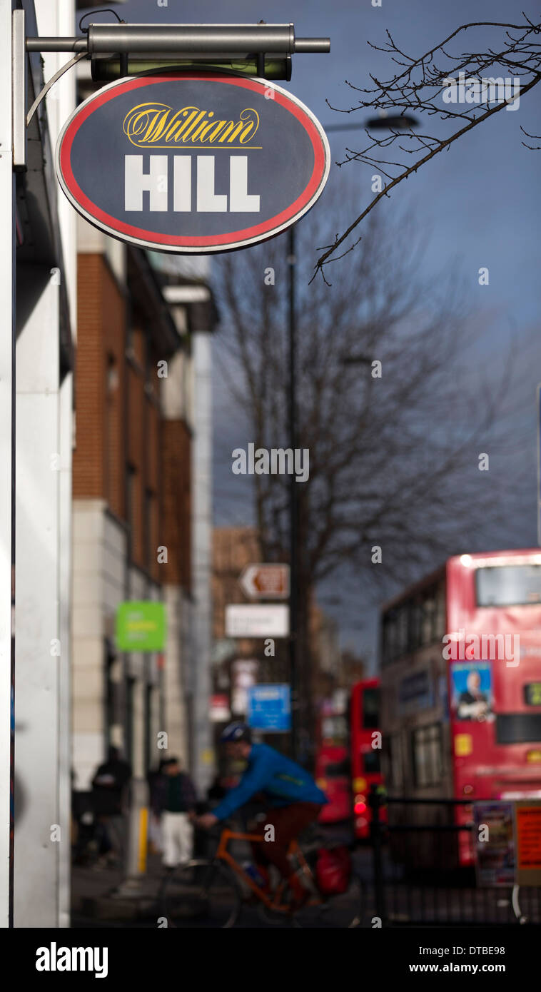 United Kingdom, London : A William Hill Bookmakers' is pictured in Hackney, London.  - Stock Image