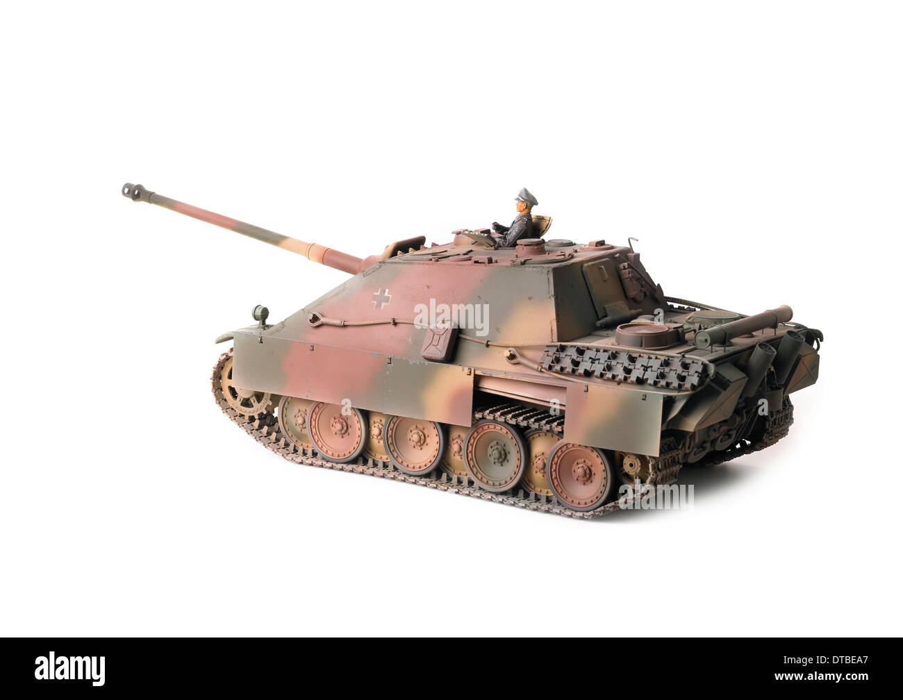 Jagdpanther tank hunter in German WW2 European theatre camouflage with armoured side skirts - Stock Image