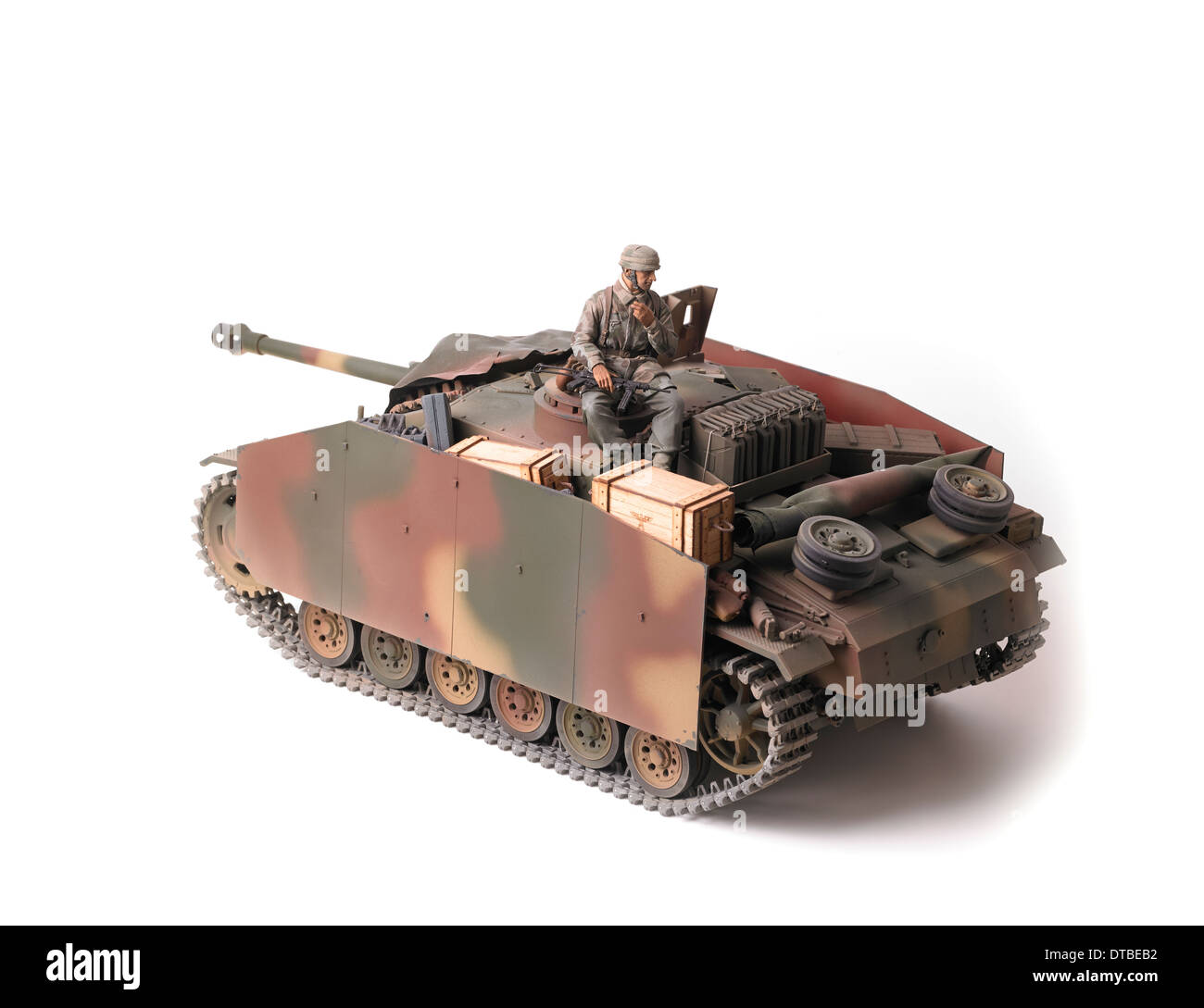 Sturmgeschütz III assault gun in German WW2 European theatre camouflage with Schürzen side skirts - Stock Image