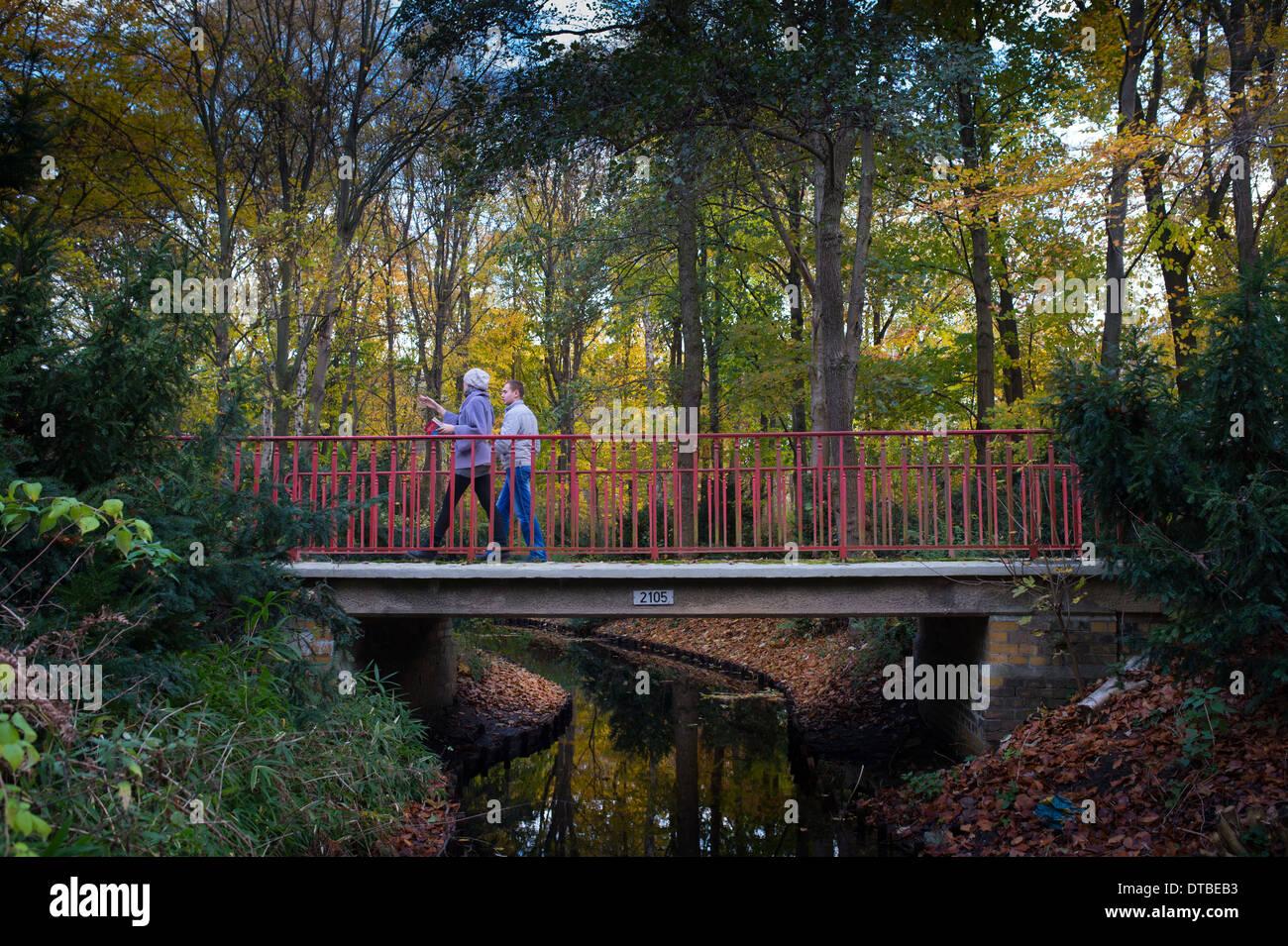 Berlin, Germany , when people fall walk in the Tiergarten Stock Photo