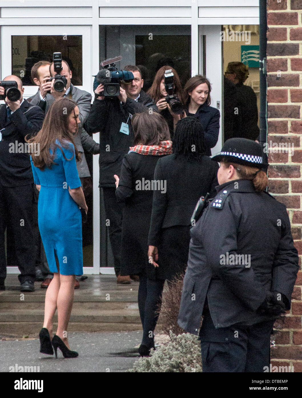 Northolt High School, London, UK.  14th Feb, 2014. The Duchess of Cambridge (left) arrives at Northolt High School, London, to open the new ICAP Art Room. Friday 14, 2014. Credit:  Guy Wells/Alamy Live News - Stock Image