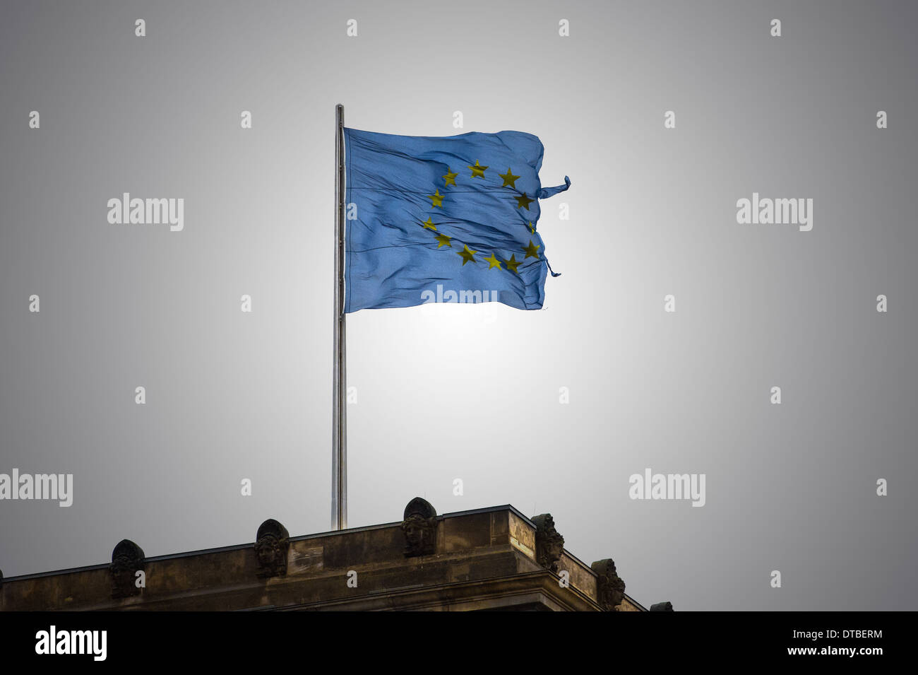 Berlin, Germany , the European flag on the Reichstag Stock Photo