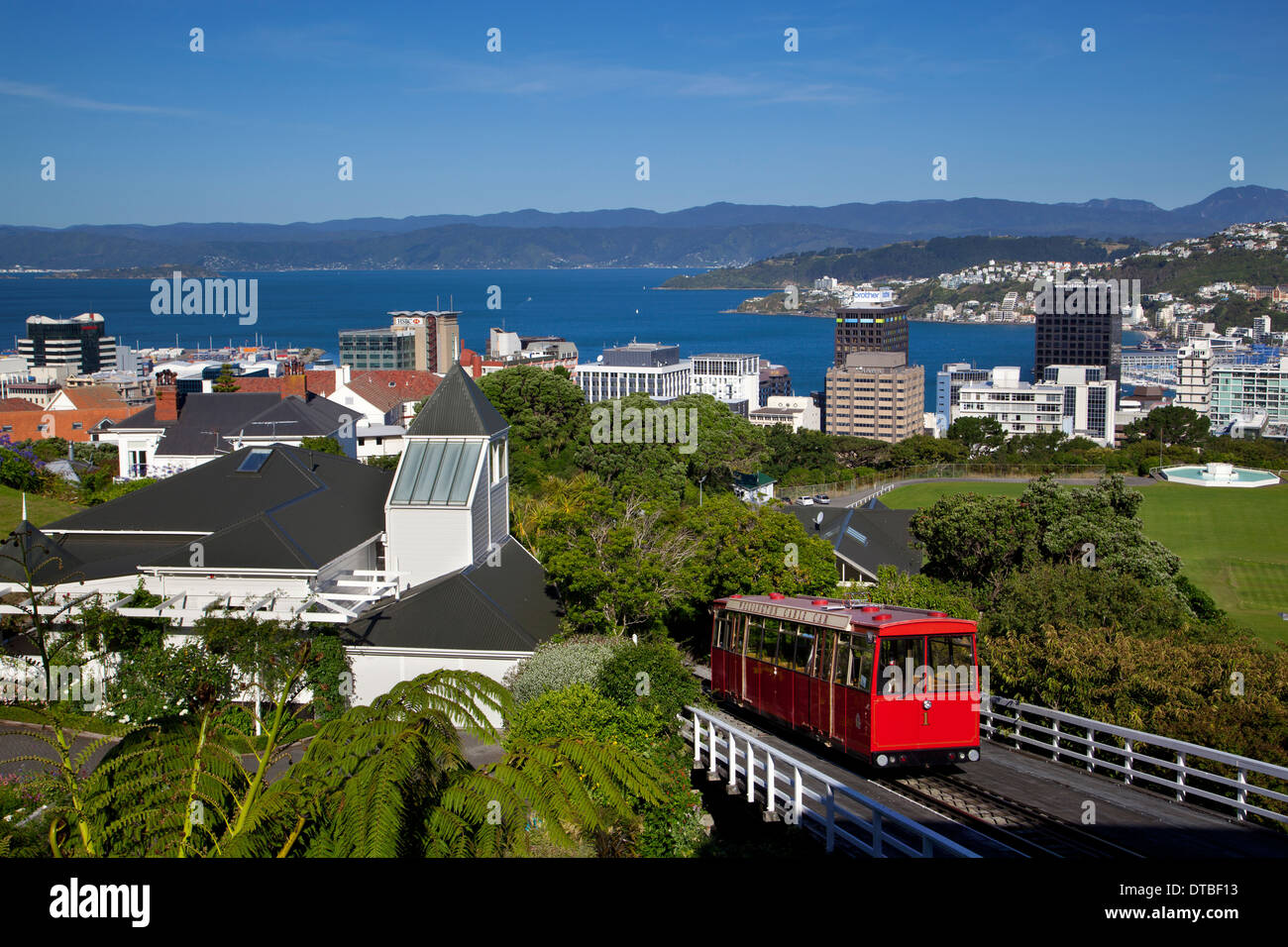 Cable Car and city view, Wellington, North Island, New Zealand - Stock Image