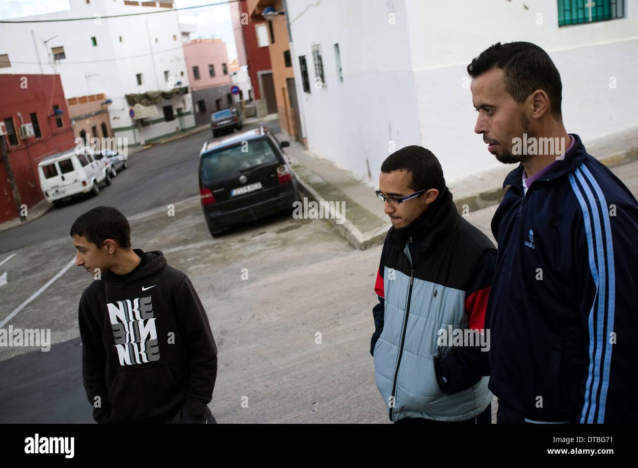 Islamic neighbourhood of Monte Maria Cristina in Melilla, Spain. poverty poor jobless suburb - Stock Image