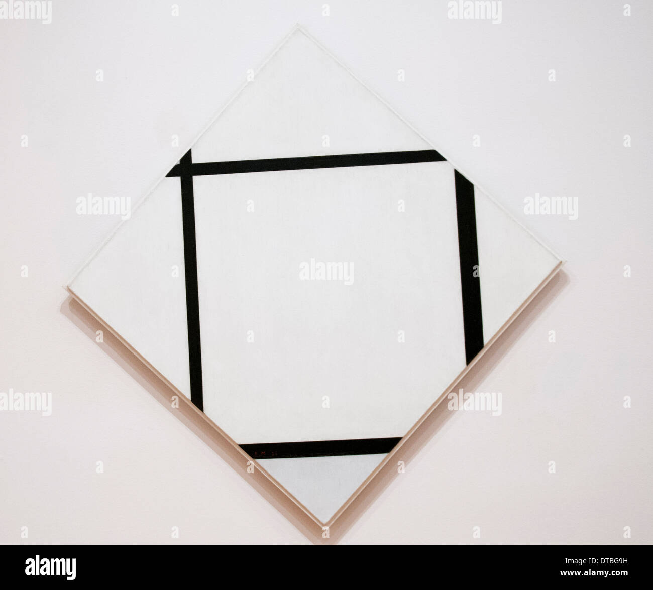 Tableau I: Lozenge with Four Lines and Gray, by Piet Mondrian at the Museum of Modern Art, New York City USA - Stock Image