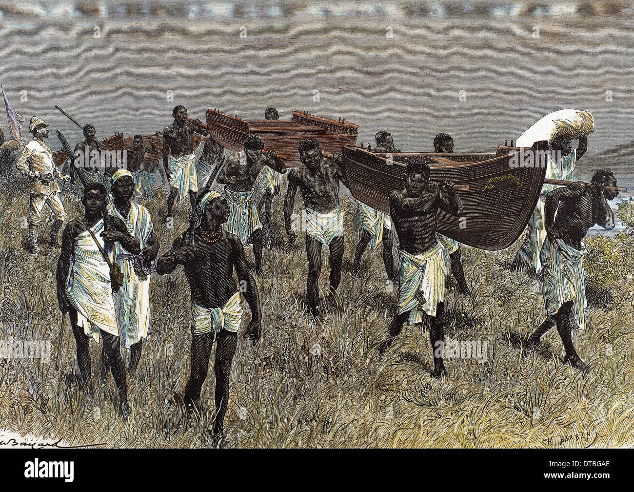 Stanley (1841-1904). British journalist and explorer. African porters carrying sections of Lady Alice boat. Engraving. - Stock Image