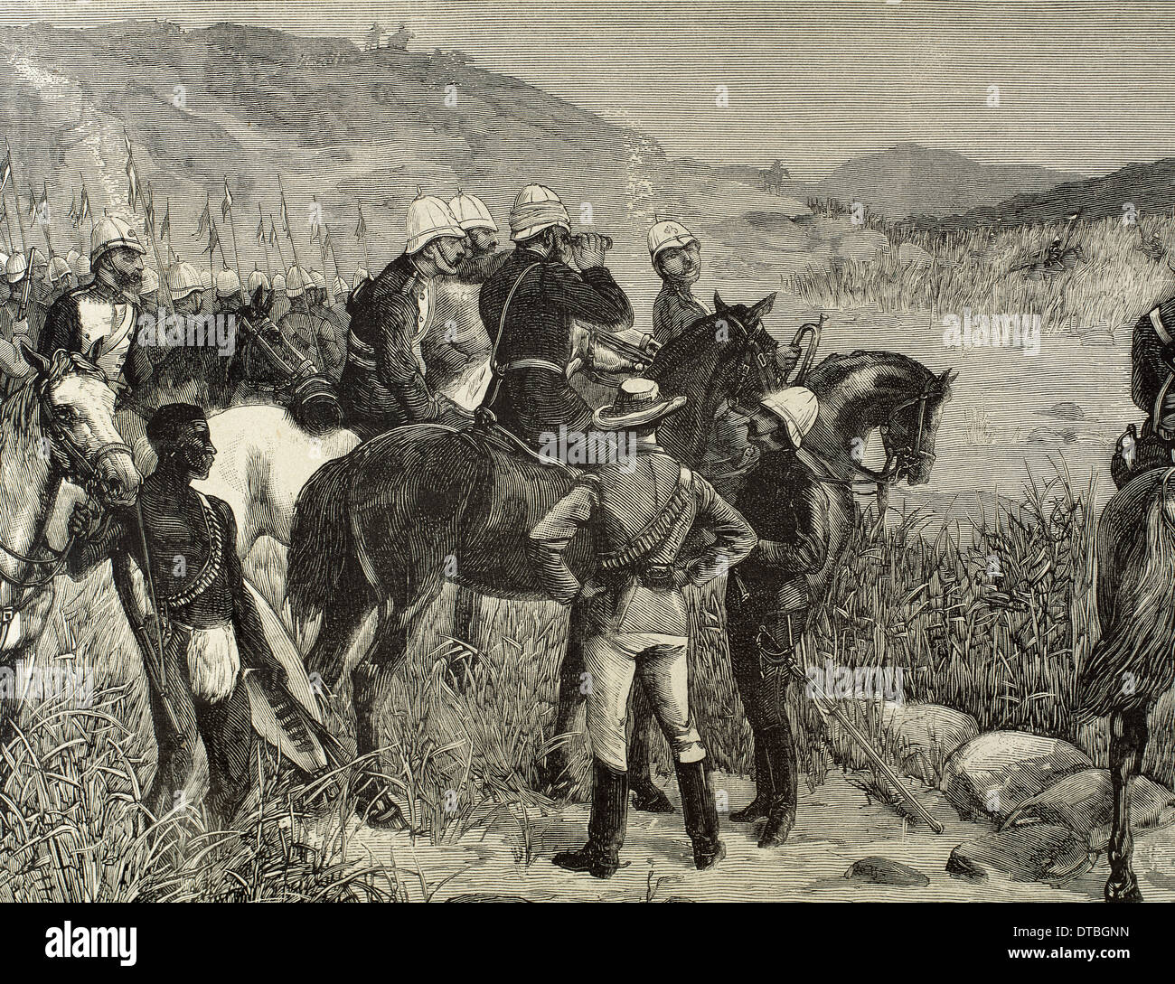 Capture of Cetshwayo. Major Marter sights the Kraal, last refuge of the ex-king of the Zulus. Engraving. - Stock Image