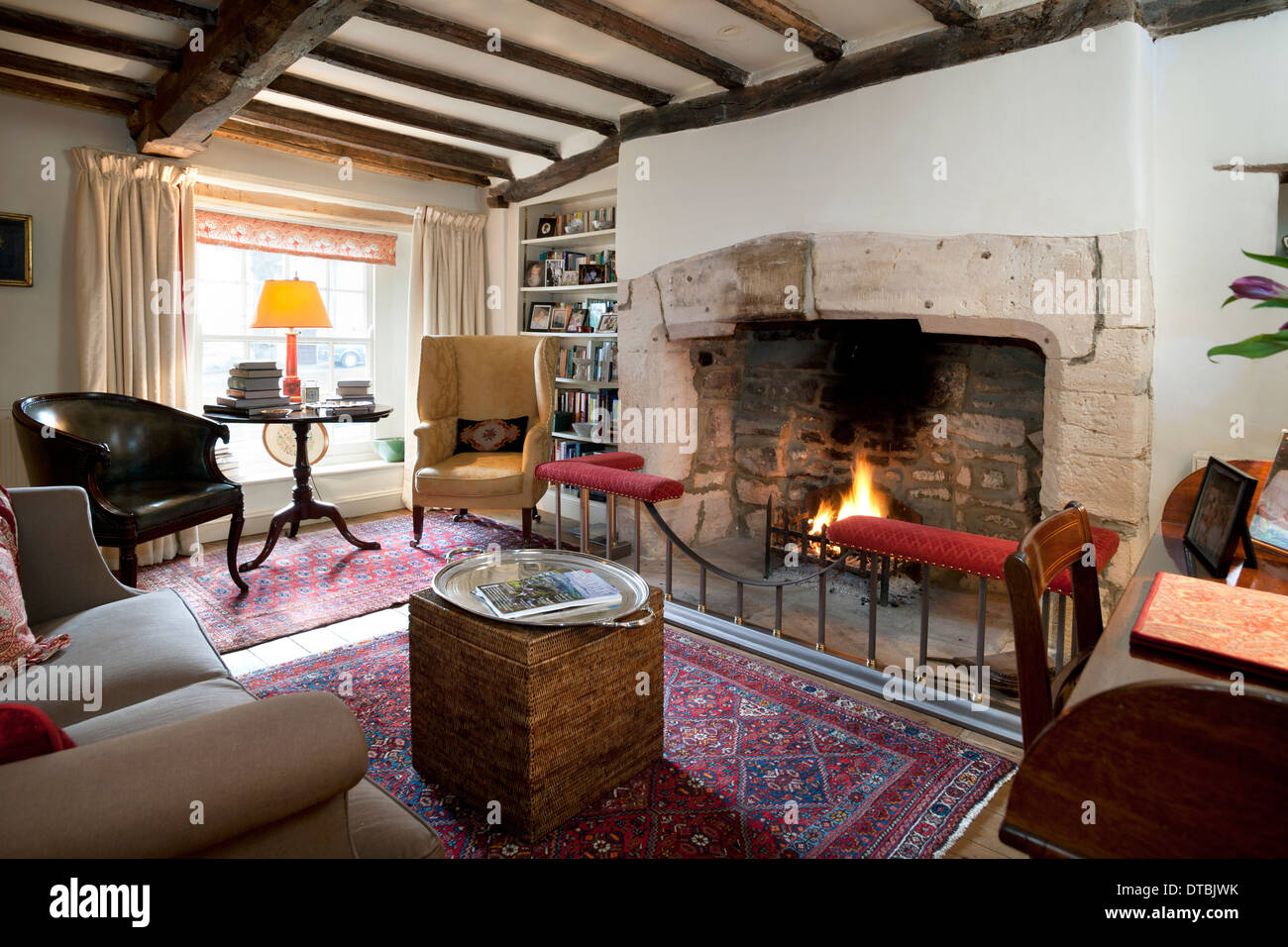 Large Open Fireplace In A Period Home Living Sitting Room.   Stock Image