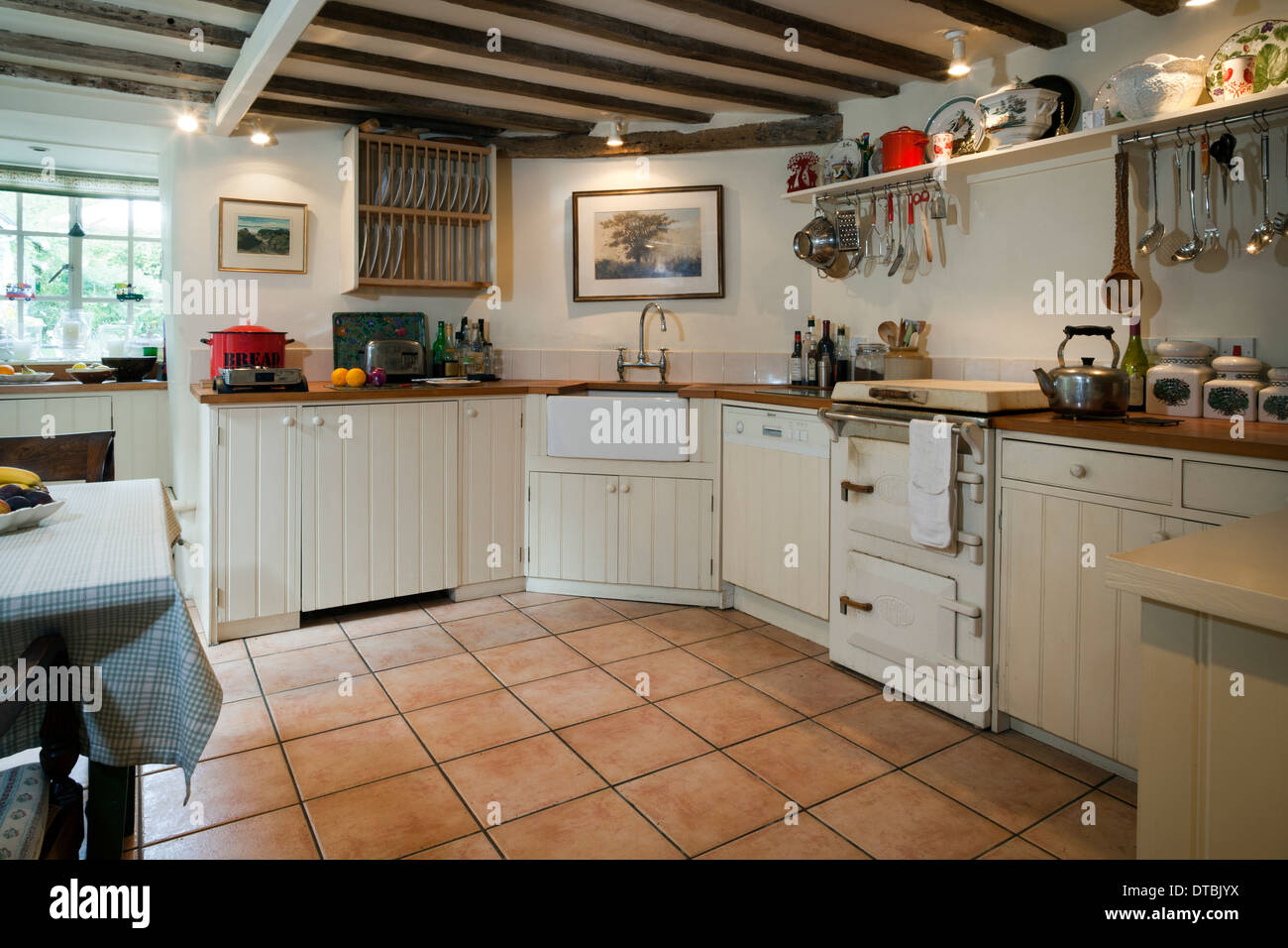 Fitted Kitchen With An Unusual Small Range Cooker.   Stock Image