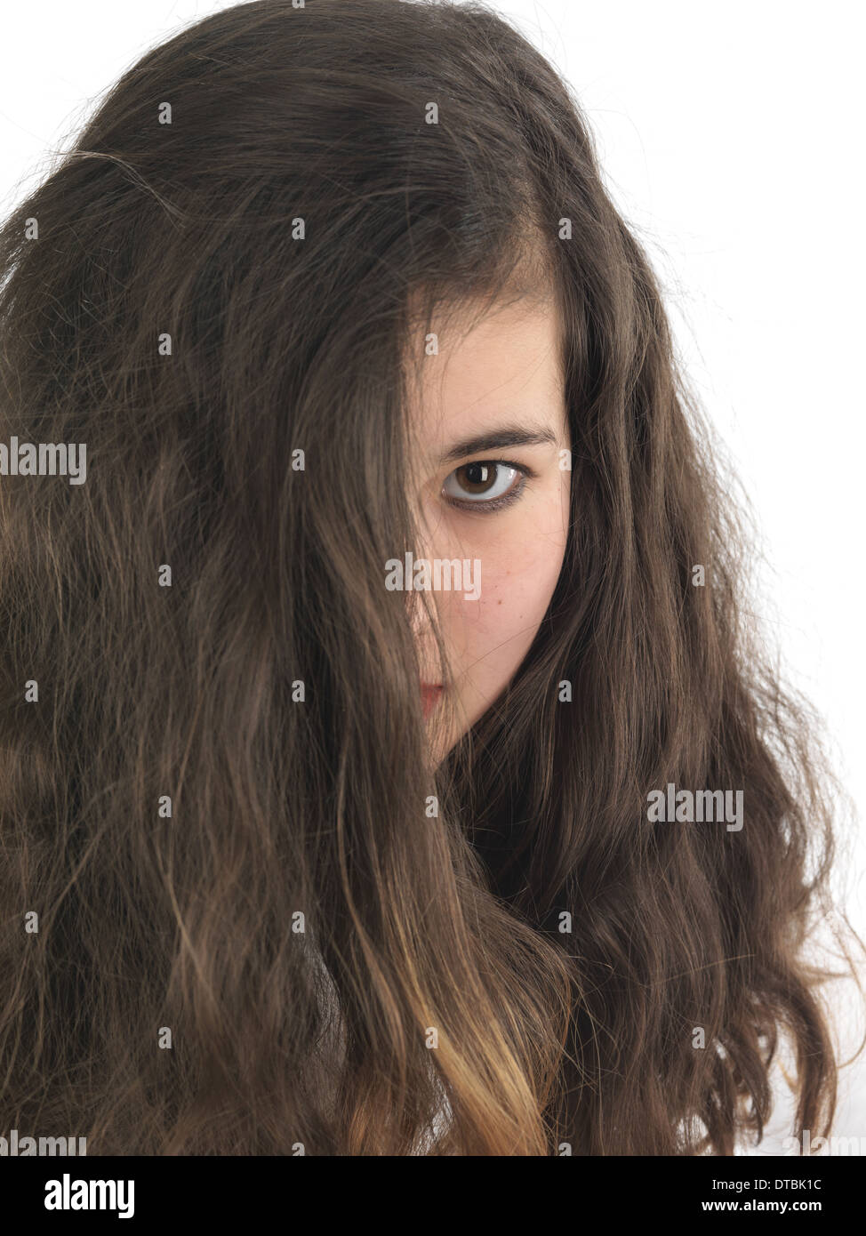 15 year old girl posing in front of camera - Stock Image