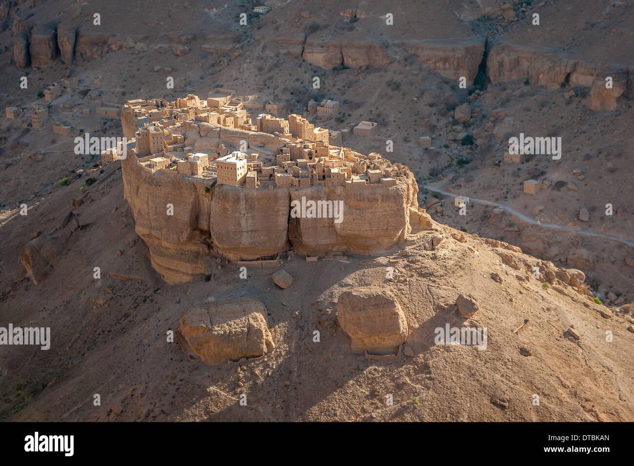 Panorama of Haid Al-Jazil in Wadi Doan, Hadramaut, Yemen - Stock Image