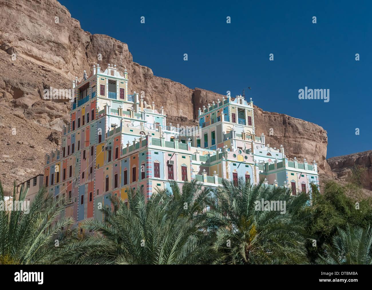 Kataira colorful hotel in Wadi Doan, Hadramaut, Yemen - Stock Image