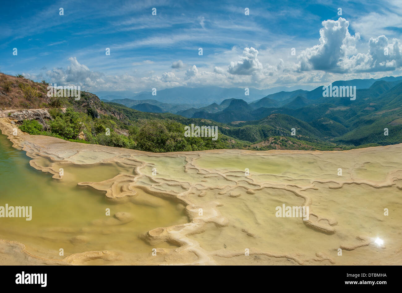 Hierve el Agua, natural rock formations in the Mexican state of Oaxaca - Stock Image