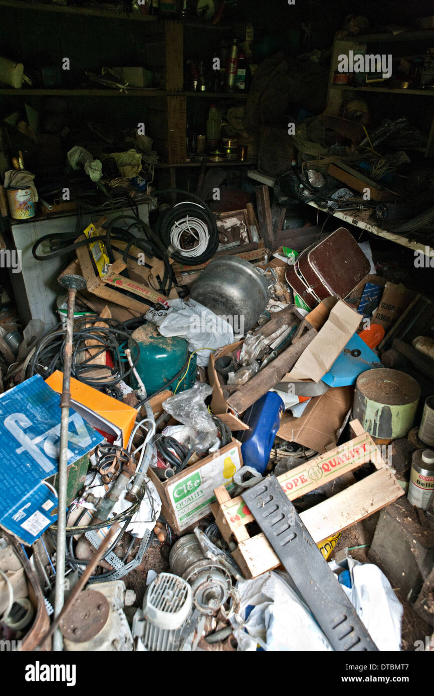 Mess of garbage that fits only for the scrap-heap - Stock Image