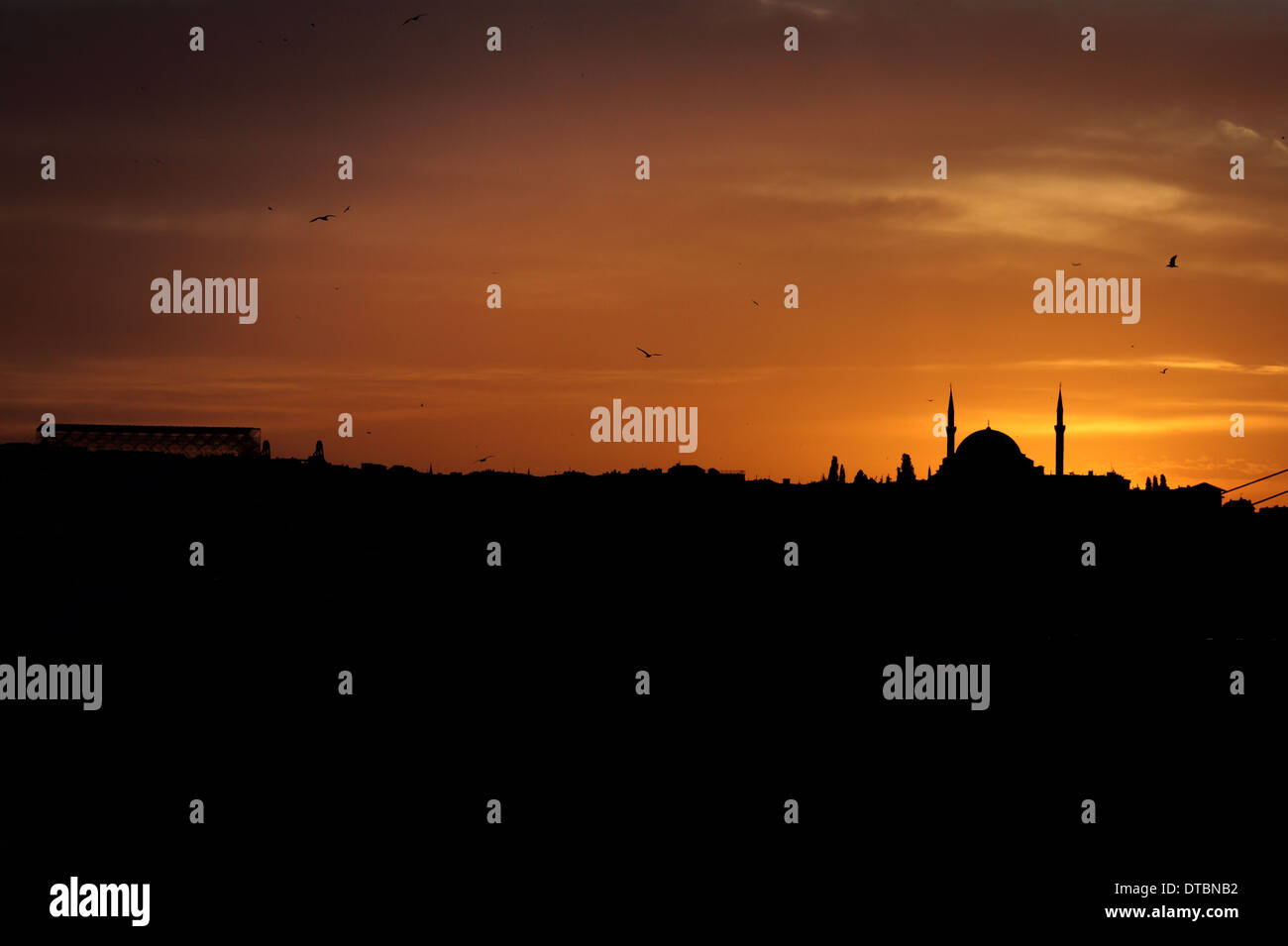 Silhouette of the Fatih Mosque at sunset Stock Photo