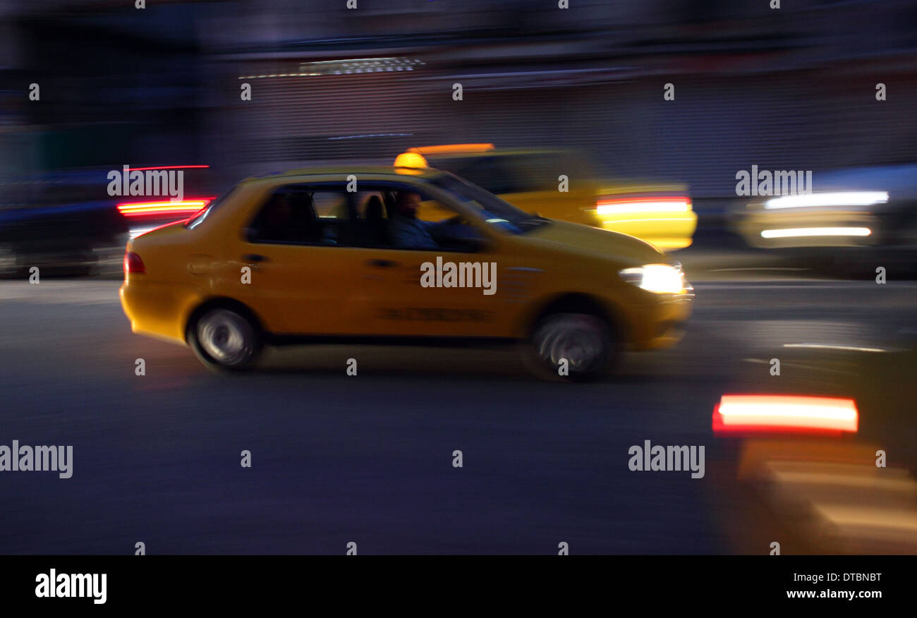 Turkish taxi at night Stock Photo