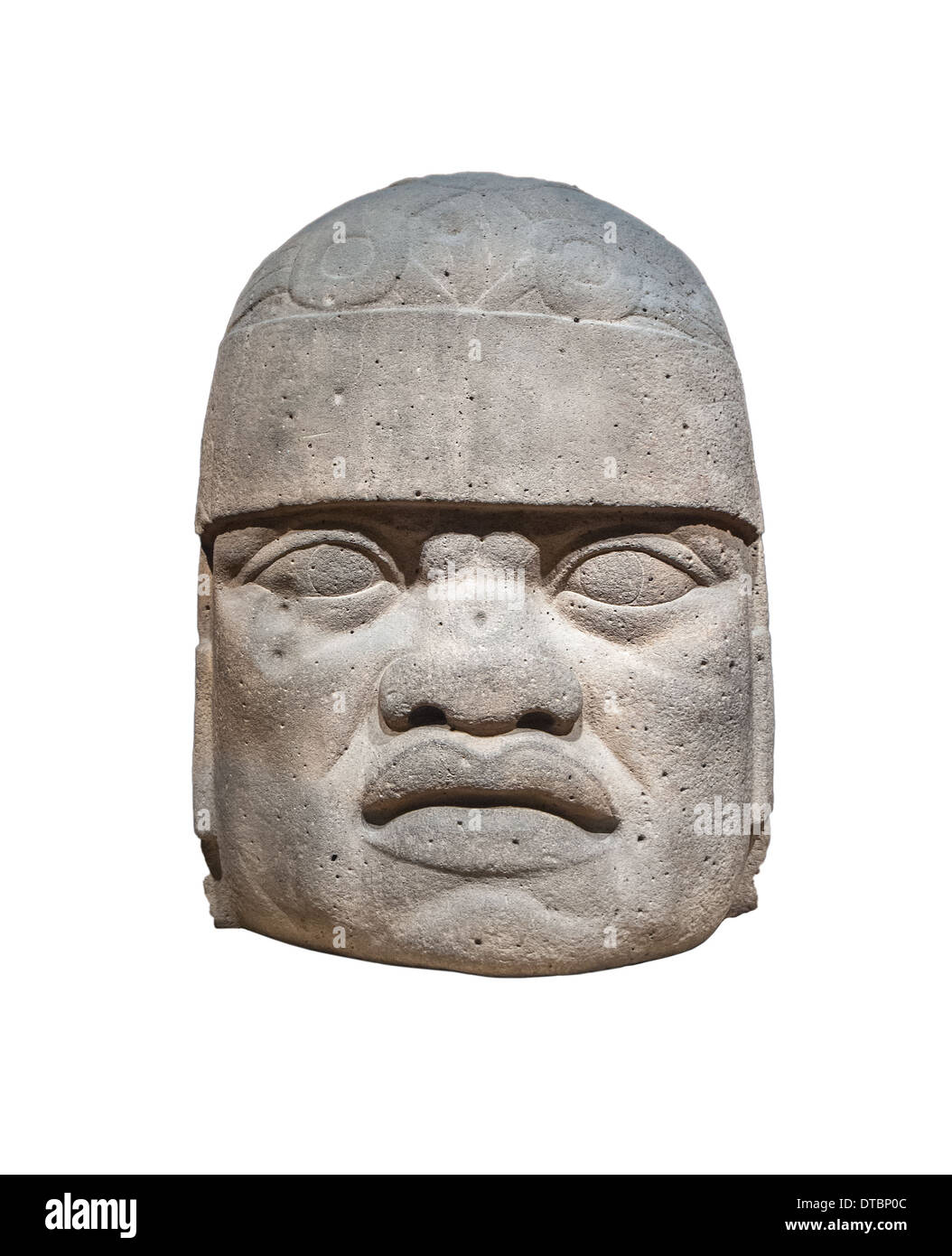 Olmec colossal head isolated - Stock Image
