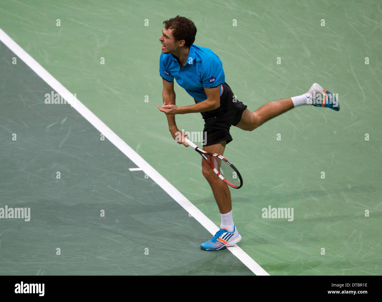 Rotterdam, The Netherlands. 14th Feb, 2014. Jerzy Janowicz(POL) in his match against Tomas Berdych(TSJ) at the ABN AMRO World tennis Tournament Photo:Tennisimages/Henk Koster/Alamy Live News - Stock Image