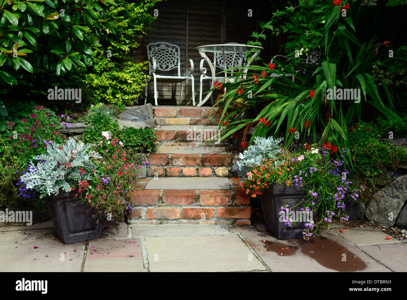 Raised Patio Seating Area Red Brick Steps Container Container Gardening  White Wrought Iron Seat Seats Mixed Planting Scheme