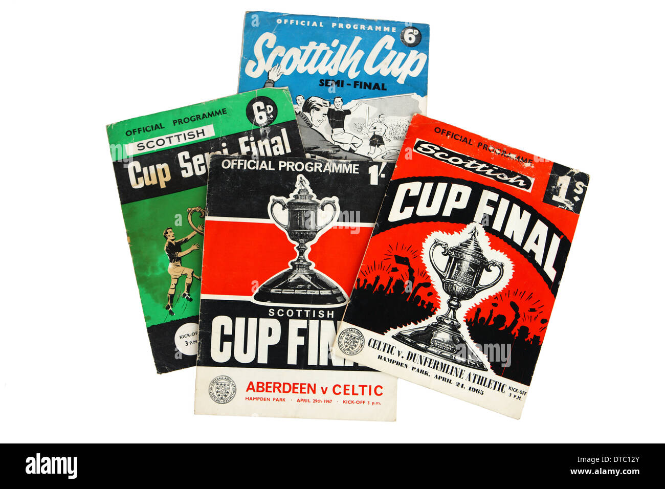 Scottish Cup Semi-final and final football programmes frrom the 1960's - Stock Image