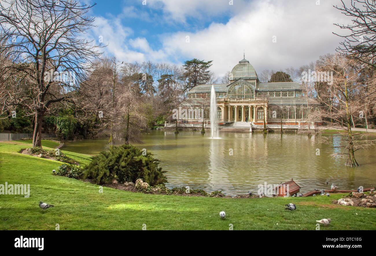 Madrid - Palacio de Cristal or Crystal Palace in Buen Retiro park Stock Photo
