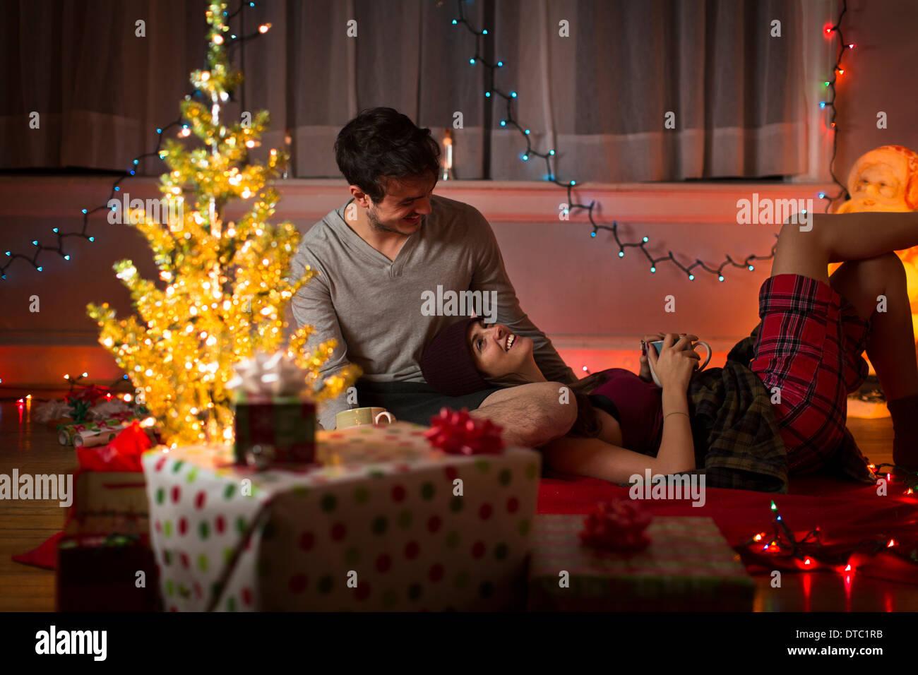 Young couple at christmas - Stock Image