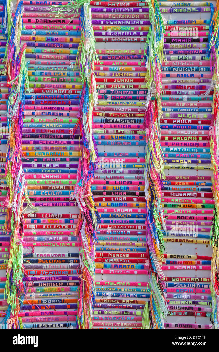 Madrid - handmade textile bracelets with the names Stock