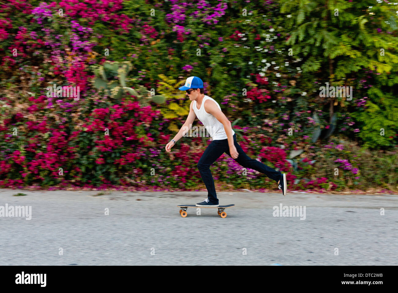 Young man skateboarding along suburban sidewalk - Stock Image
