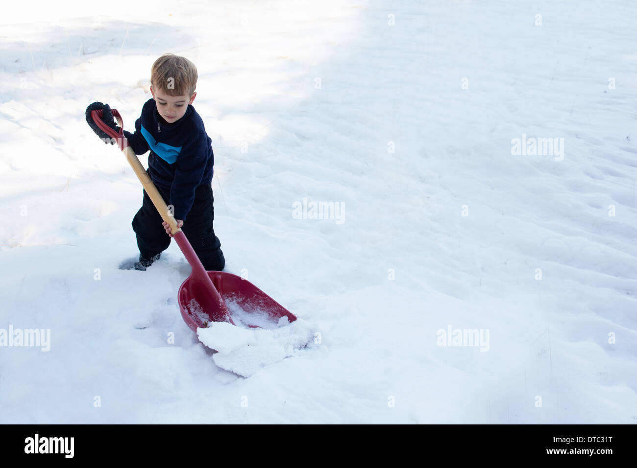 Male toddler digging snow with large shovel - Stock Image