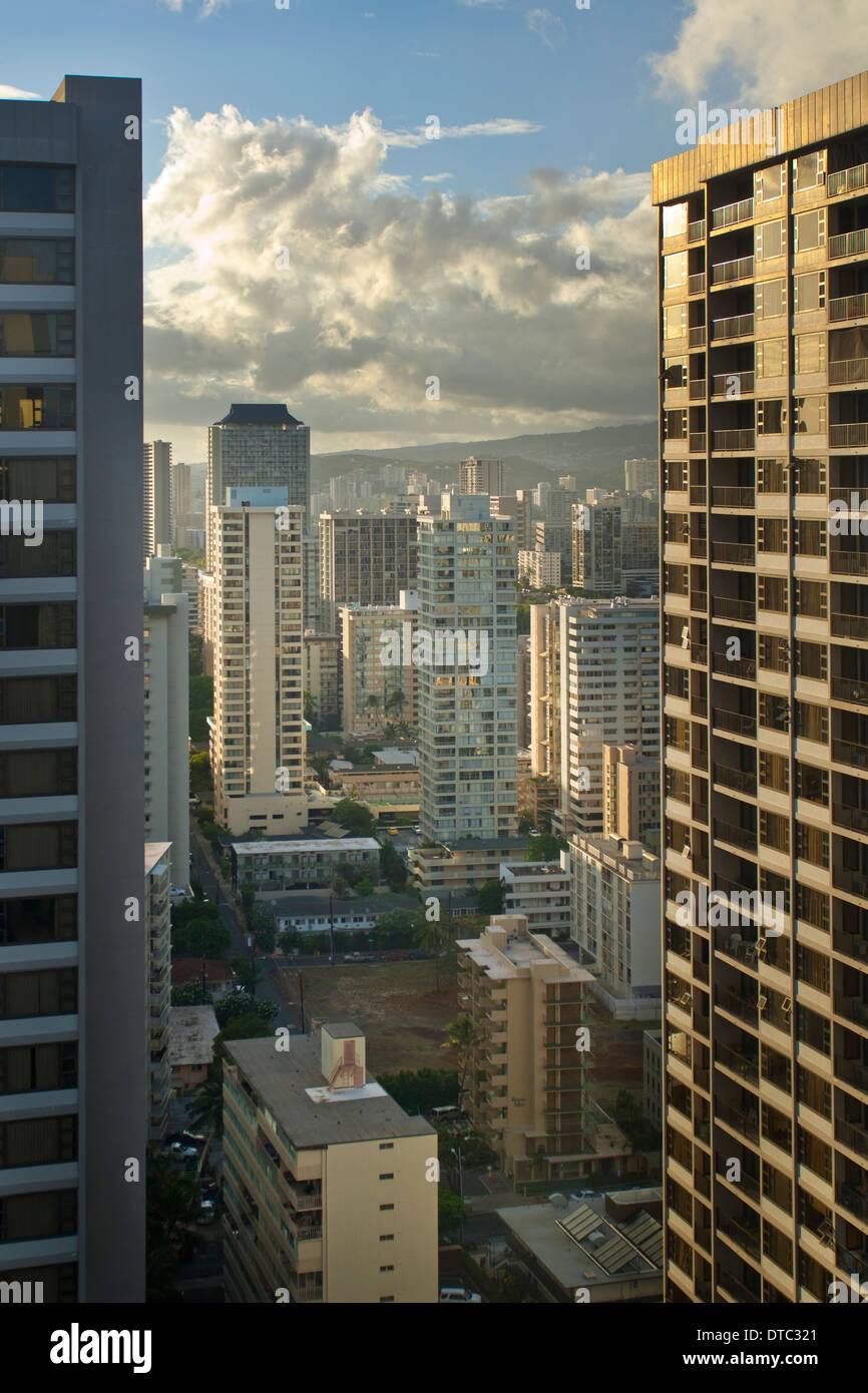 Tall Buildings and hotels in downtown Waikiki, Oahu, Hawaii - Stock Image