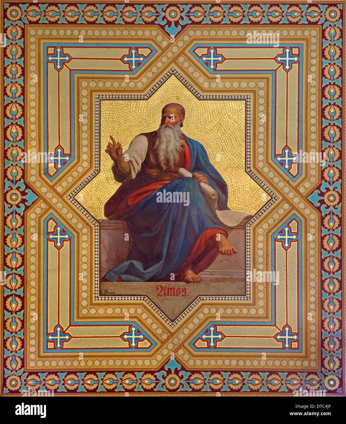 VIENNA, AUSTRIA - JULY 27, 2013: Fresco of Amos prophets by Karl von Blaas from 19. cent. in Altlerchenfelder church. - Stock Image