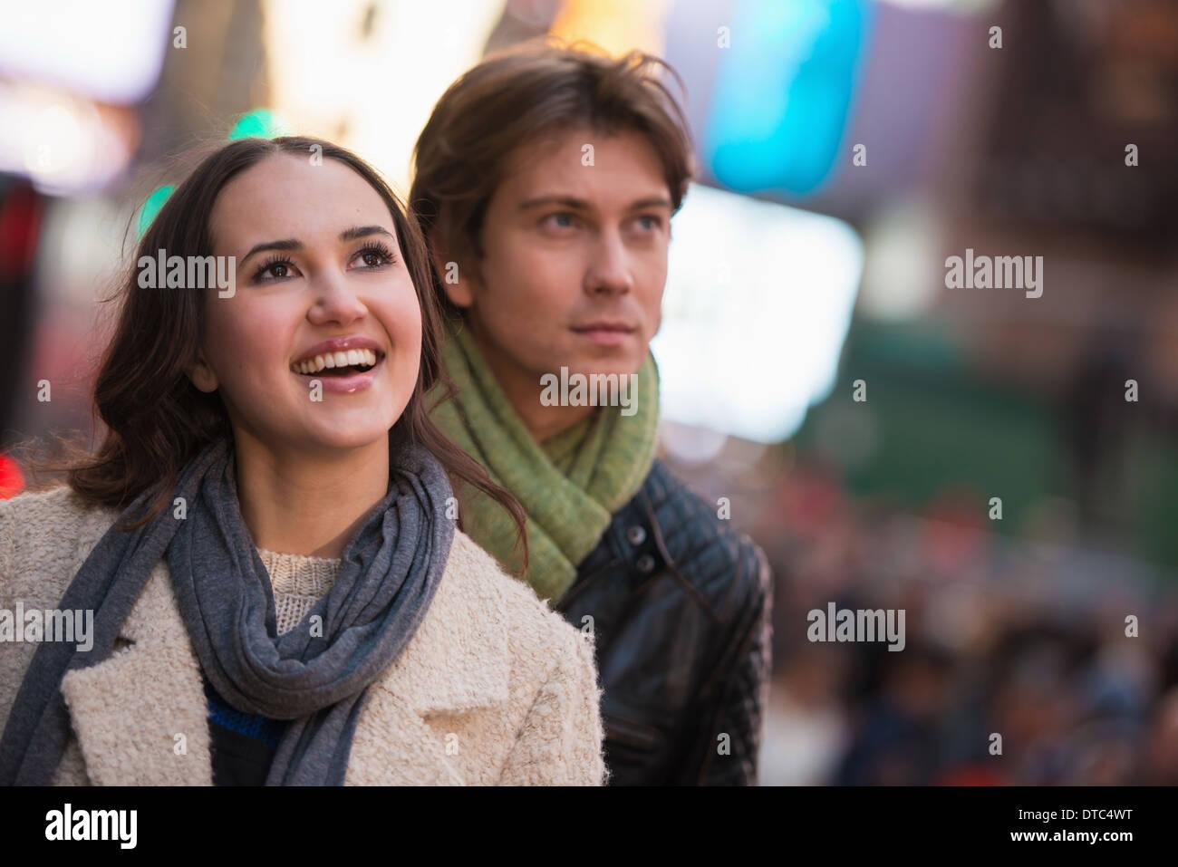 Young tourist couple, New York City, USA - Stock Image