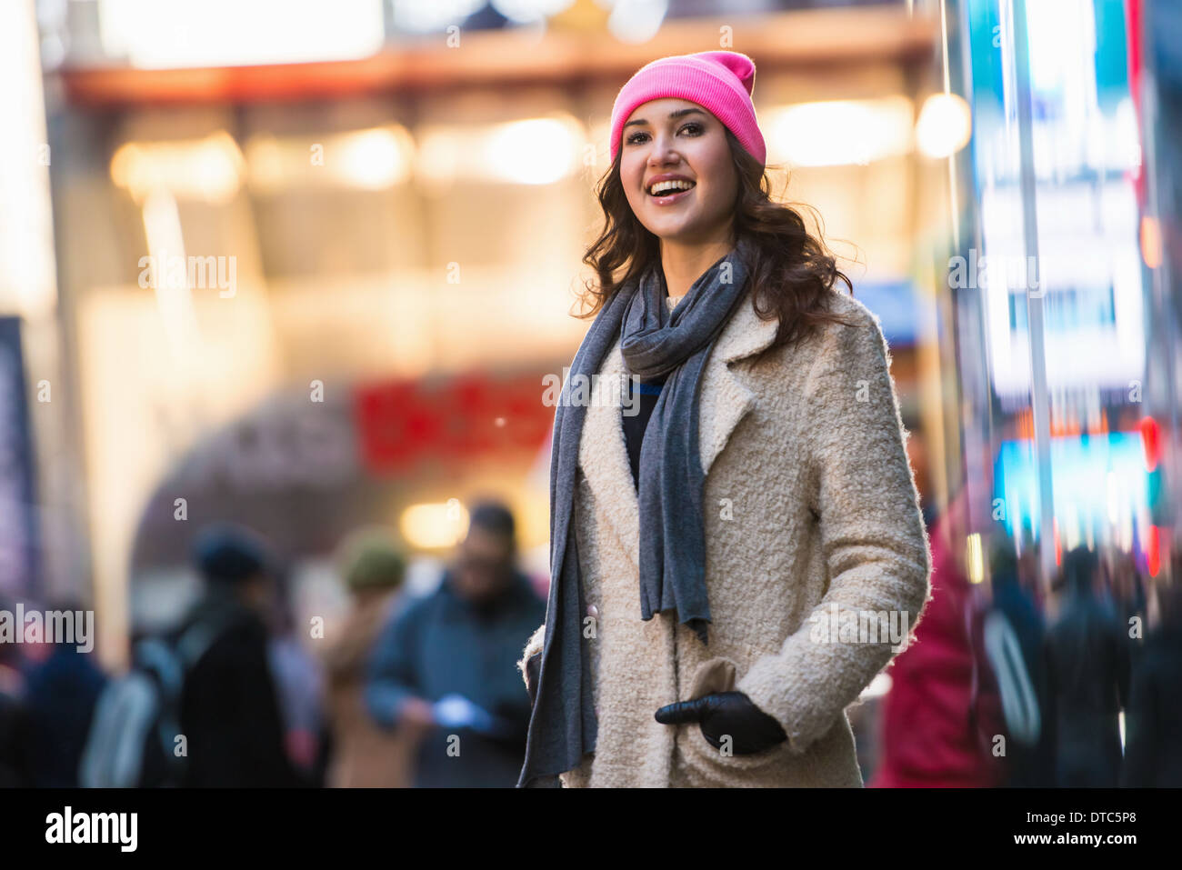 Young female tourist exploring streets, New York City, USA - Stock Image