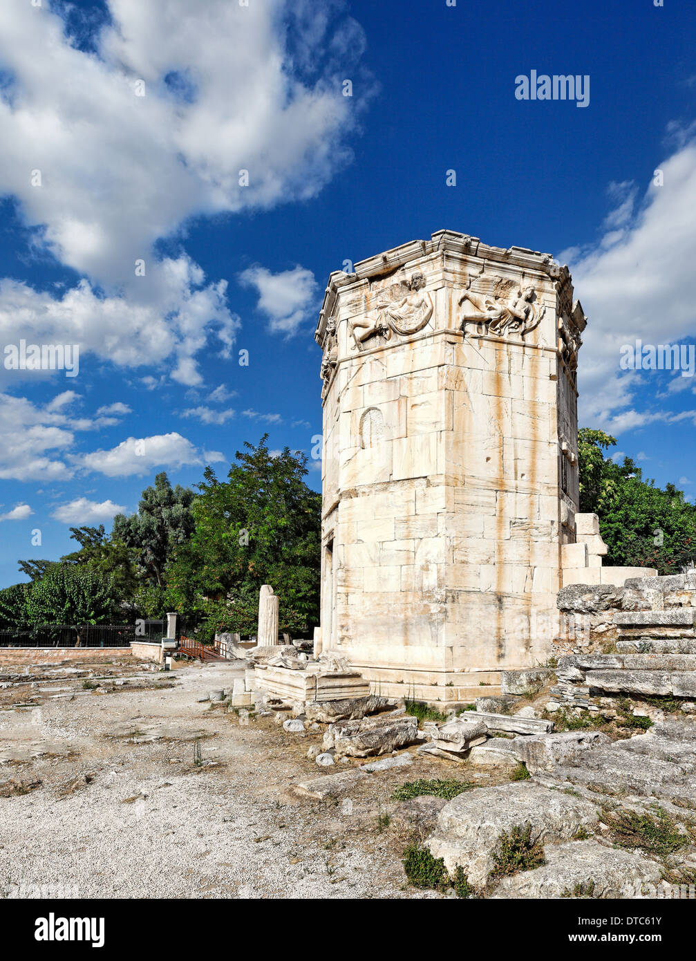 The Tower of the Winds (Aerides) also known as the Horologion of Kyrrhestos (1st c. B.C.) in the Roman Agora, Greece - Stock Image