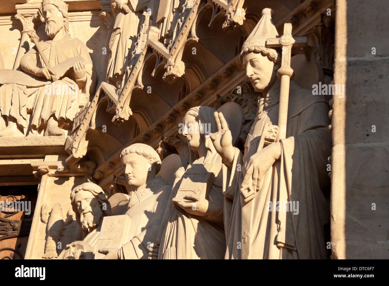 Sculptures of the Portal of the Virgin, Notre Dame de Paris - Stock Image