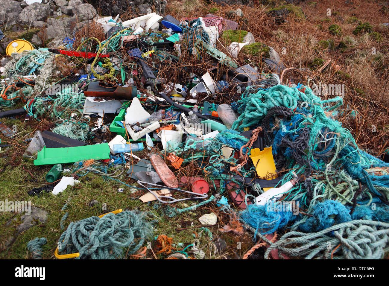 Flotsam and jetsam washed up on UK coastline - Stock Image