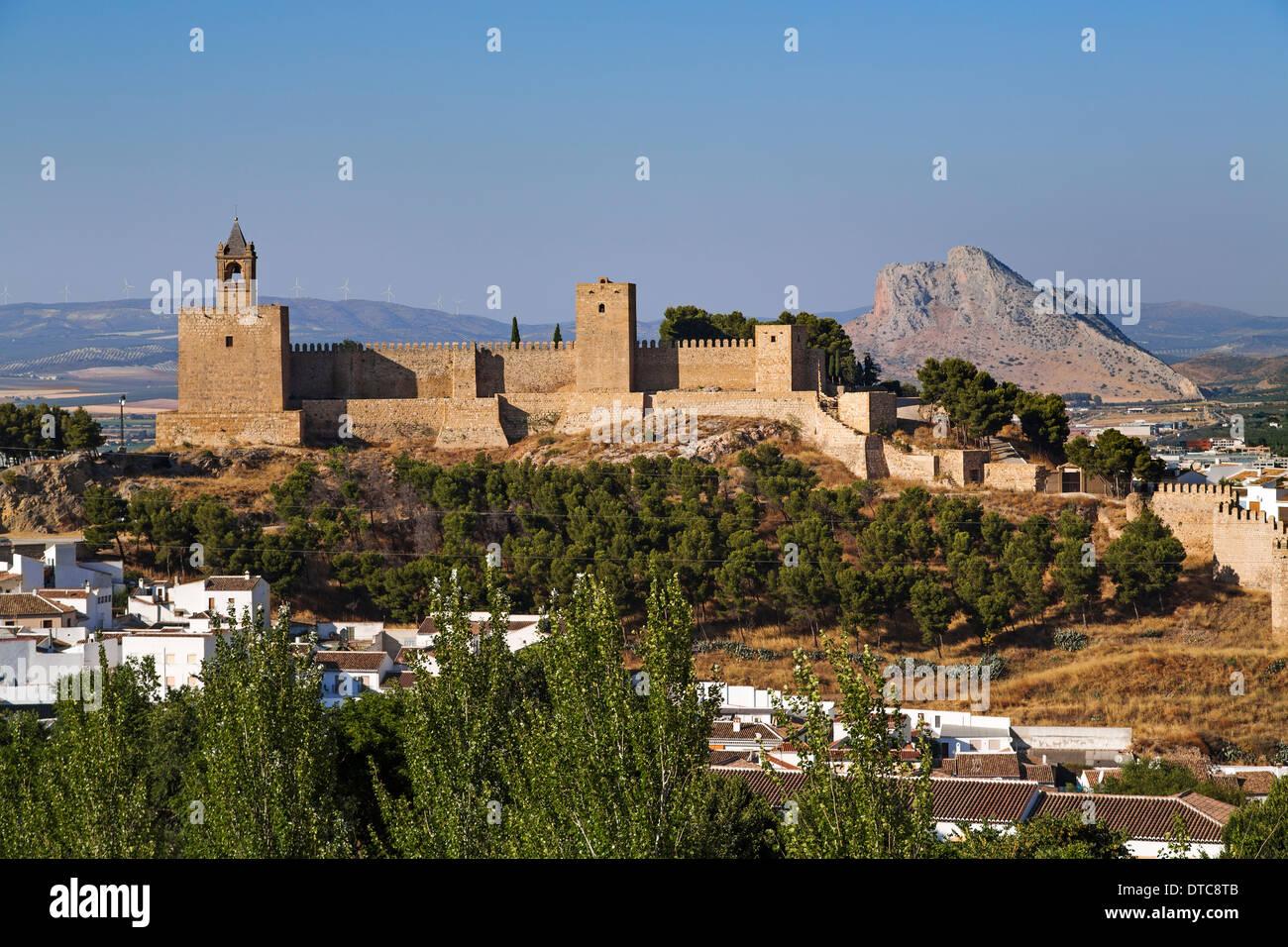 Castle fortress Antequera Malaga Andalusia Spain castillo alcazaba andalucia españa - Stock Image