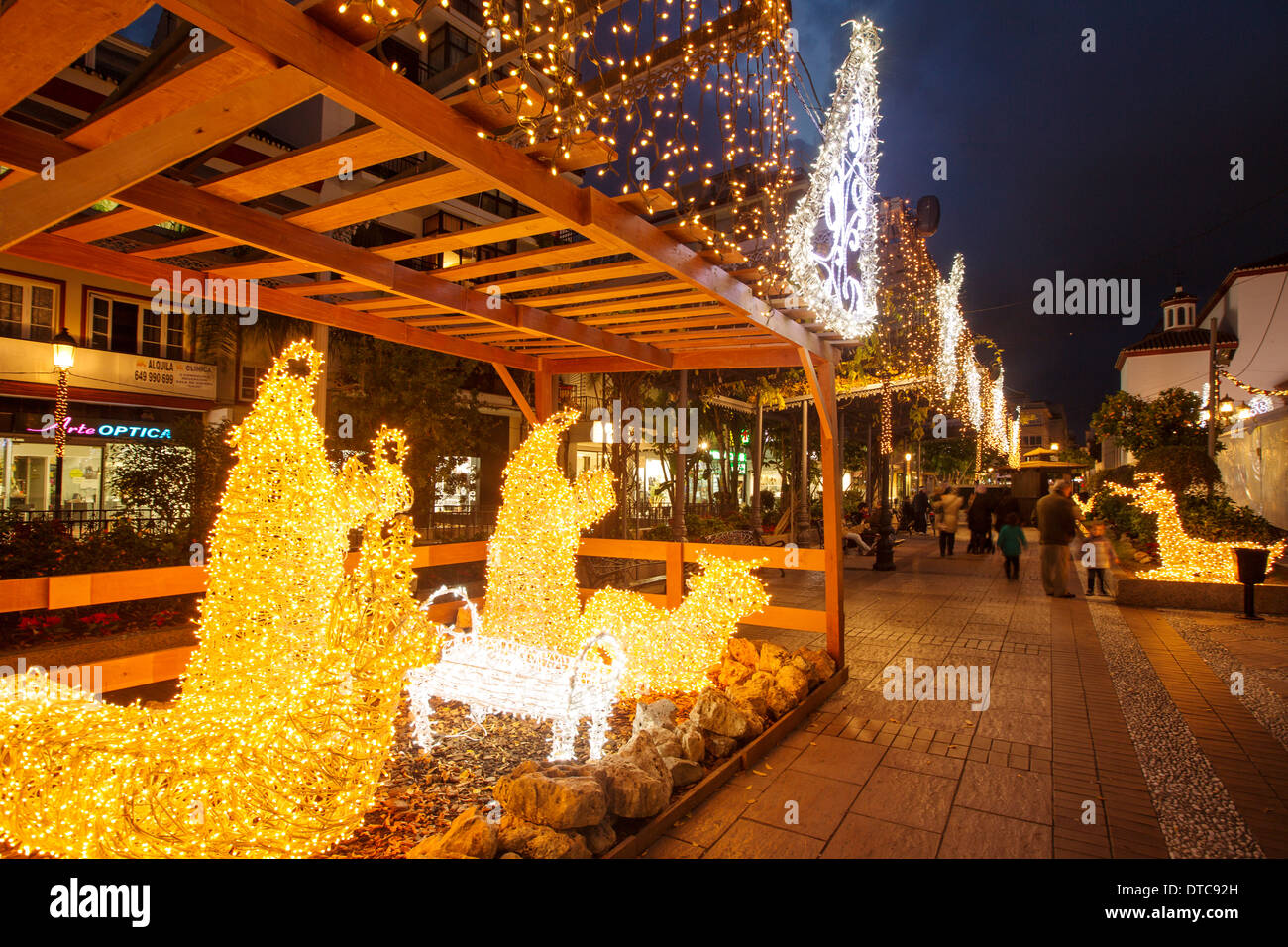 Lights and Christmas decoration Fuengirola Malaga Costa del Sol Andalusia Spain luces de navidad andalucia españa - Stock Image