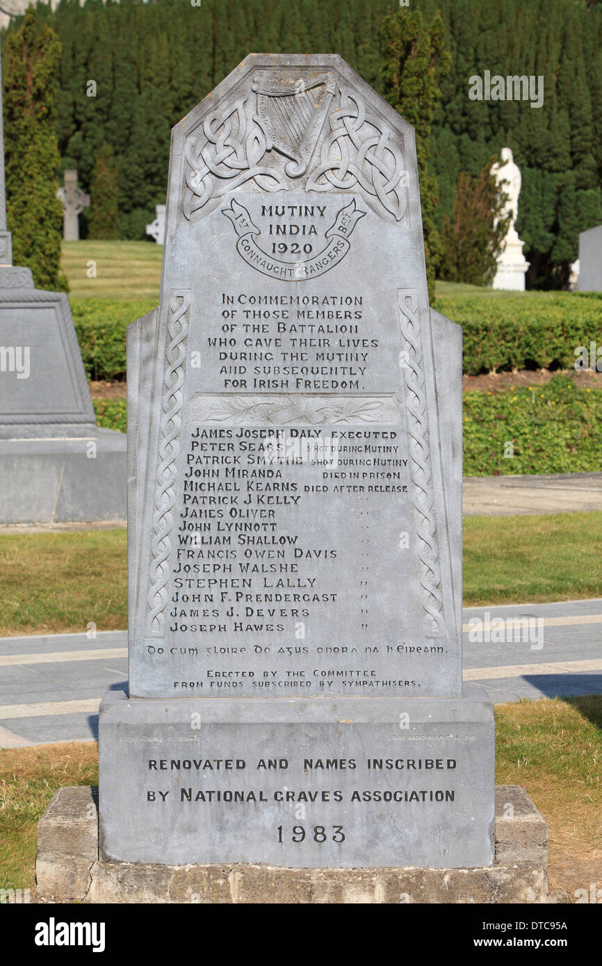 1st Connaught Rangers Mutineers Memorial at Glasnevin Cemetery in Dublin, Ireland Stock Photo