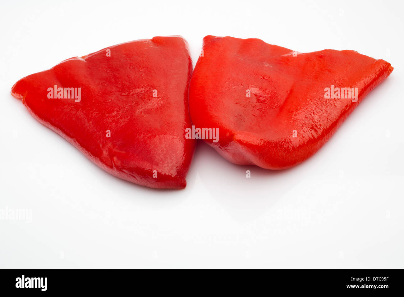 Roasted red peppers preserved food pimientos rojos asados en conserva - Stock Image
