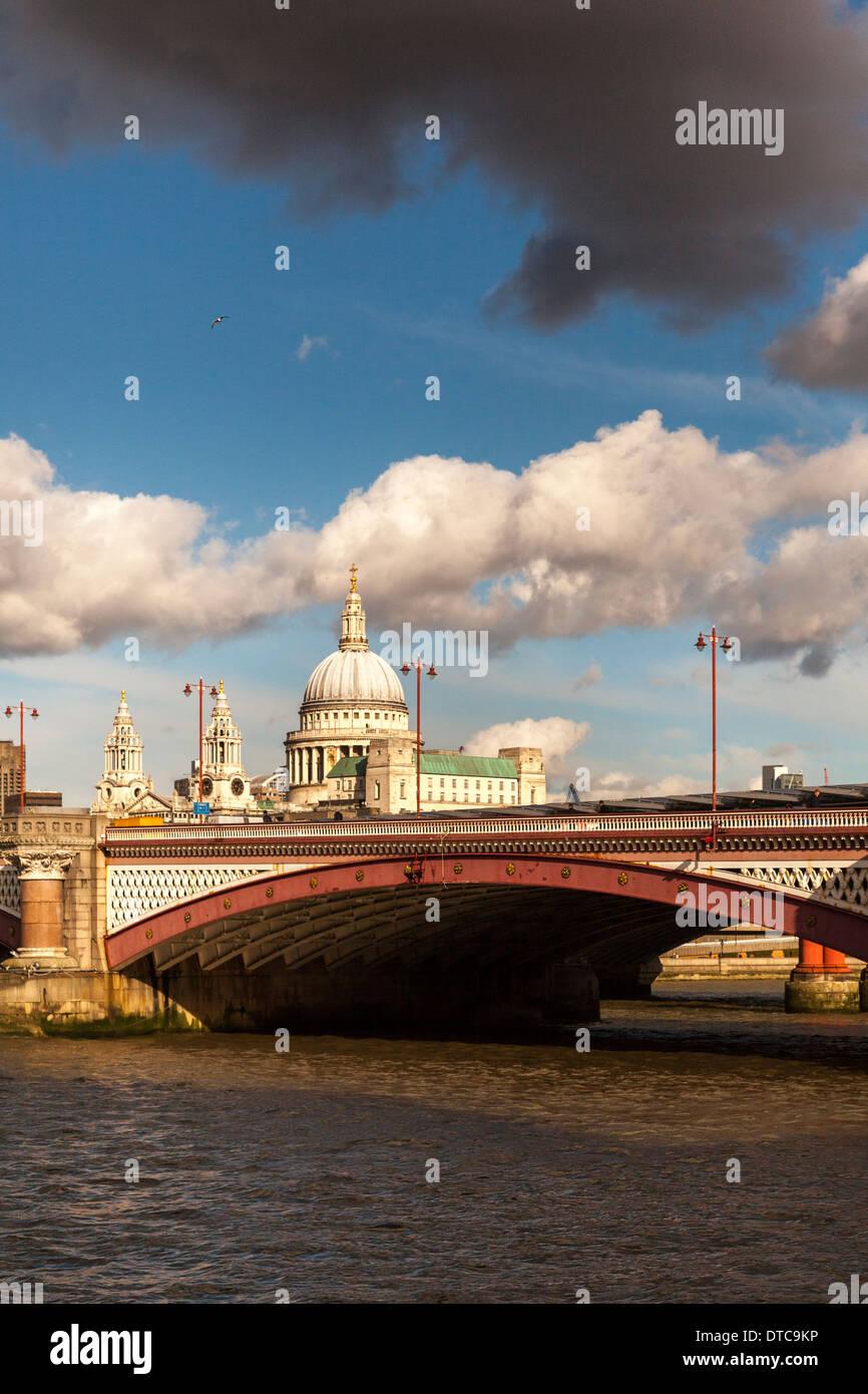 Saint Paul's Cathedral and Blackfriars Bridge,London,England - Stock Image