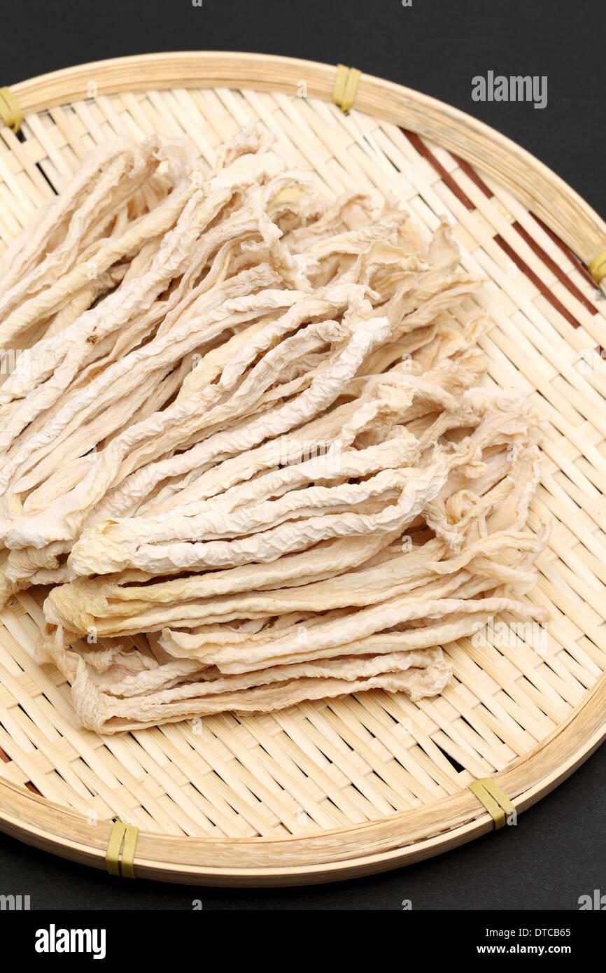 dried radish slice on bamboo basket, japanese food - Stock Image