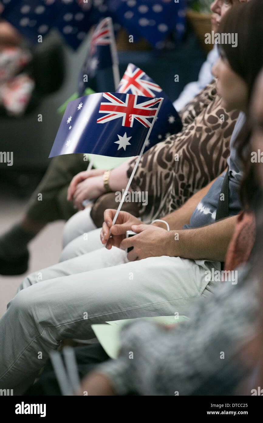 People attending an Australian citizenship ceremony - Stock Image