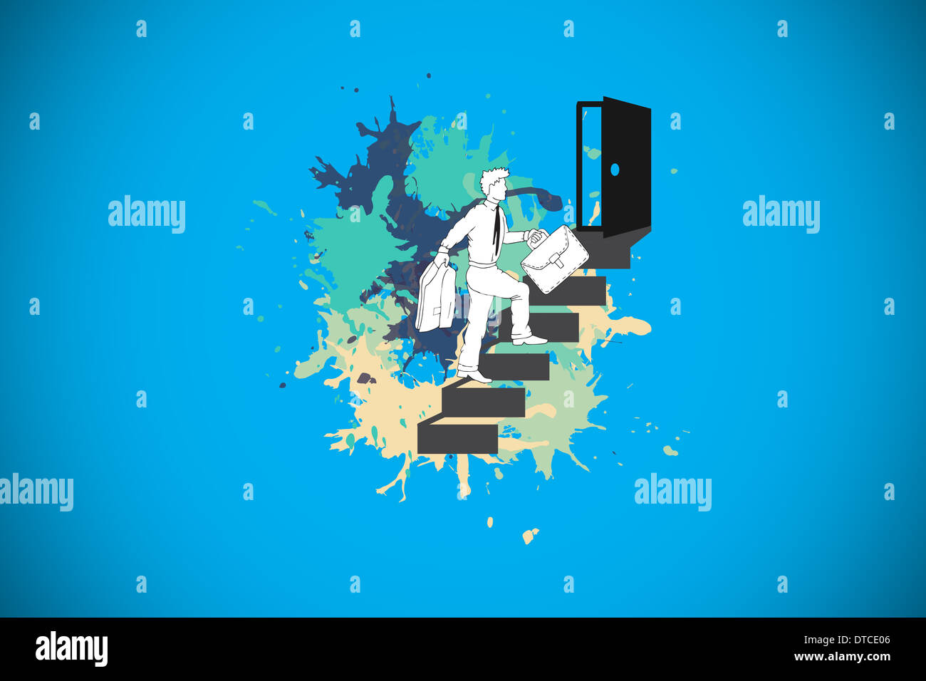 Composite image of career progression concept on paint splashes - Stock Image