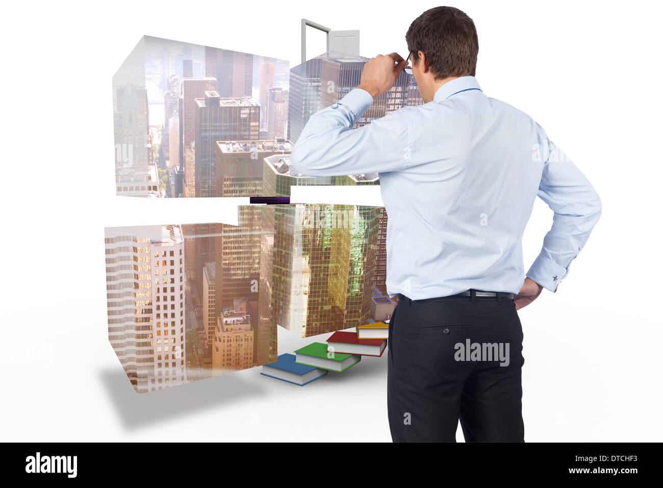 Composite image of thinking businessman tilting glasses Stock Photo