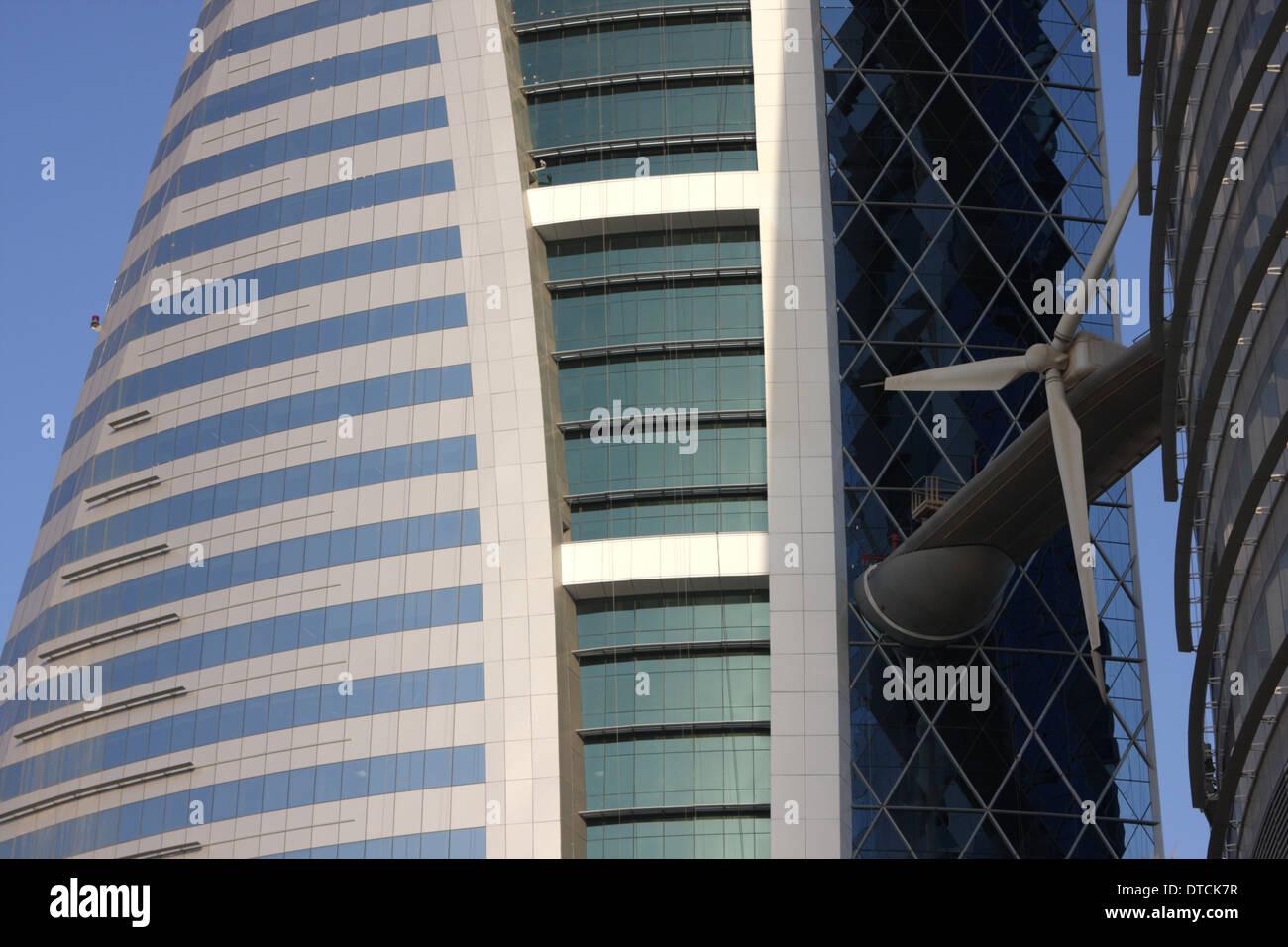 World Trade Centre Building showing turbine, Manama, Kingdom of Bahrain - Stock Image