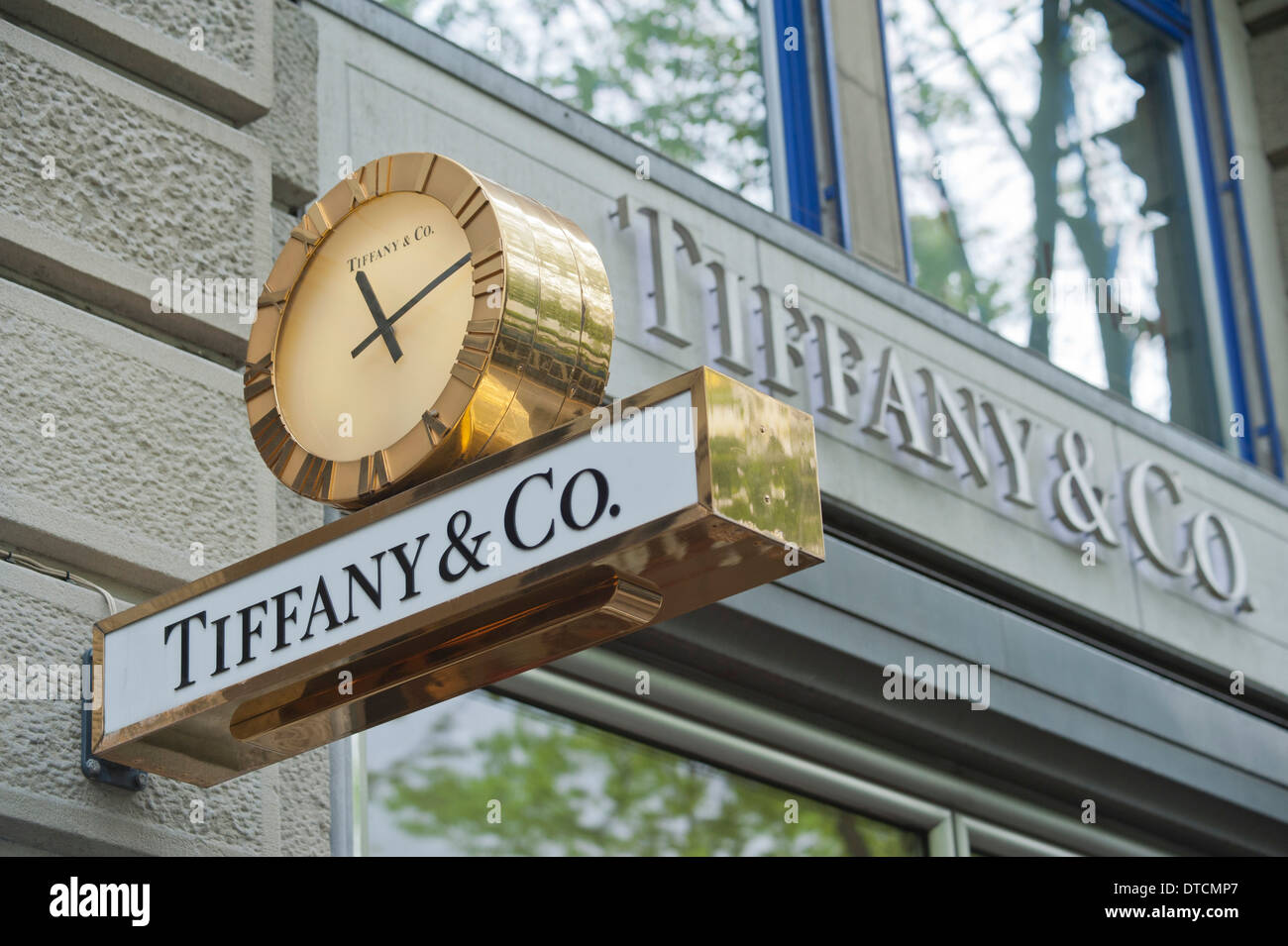 Shop sign of Tiffany on Zurich's Bahnhofstrasse - Stock Image