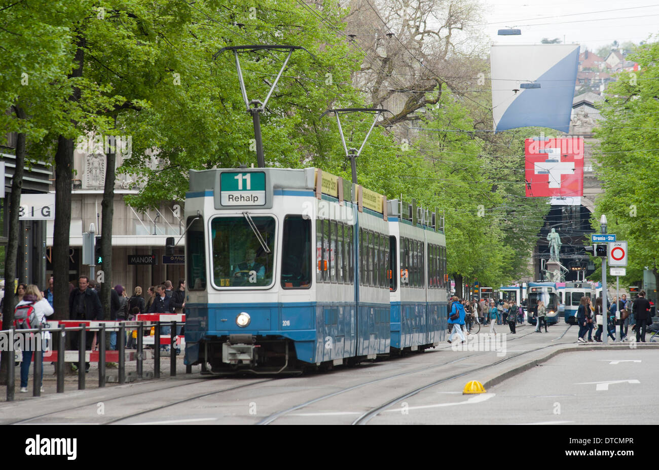 Zurich streetcar (Tram) on Zurich's Bahnhofstrasse luxury commercial strip - Stock Image