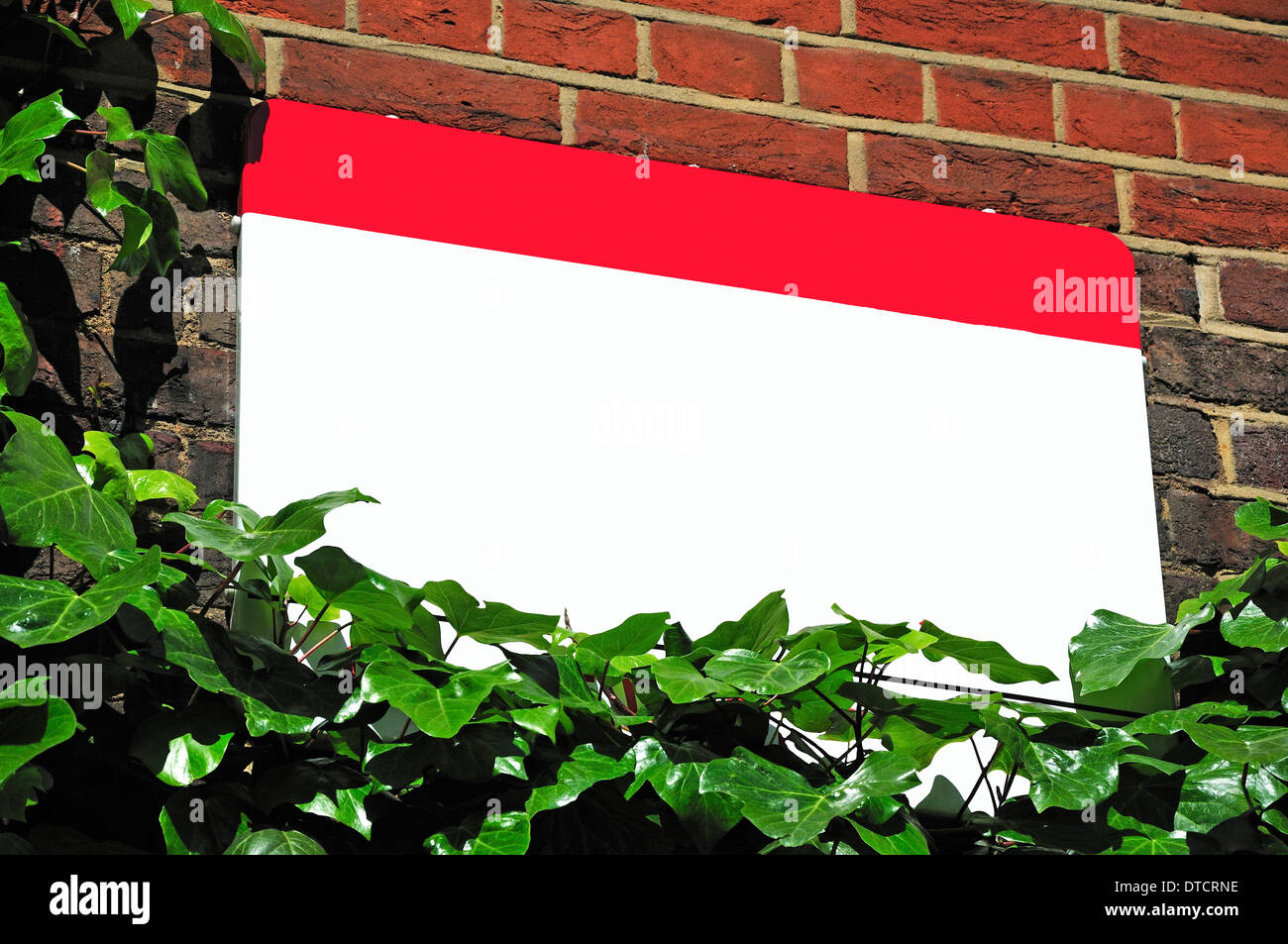 Blank street sign (Drury Lane, London) [Text deleted] - Stock Image