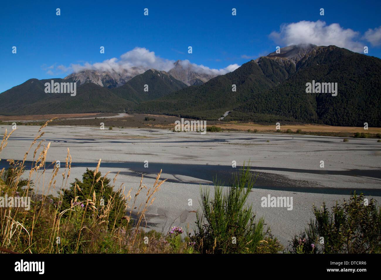 View down valley near Cass, Arthurs Pass National Park, South Island, New Zealand - Stock Image